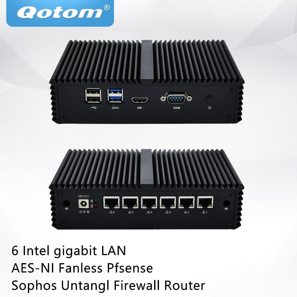 Qotom mini pc q555g6 q575g6 com 7th core i5-7200U/i7-7500U 6 gigabit nics, com, fanless pfsense sophos untangl firewall roteador