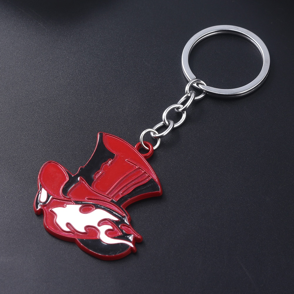 Japanese Game Persona 5 P5 Keychain Take Your Heart Logo Red Hat Key Chain for Women Men Car Keyring Choker Souvenir Gift