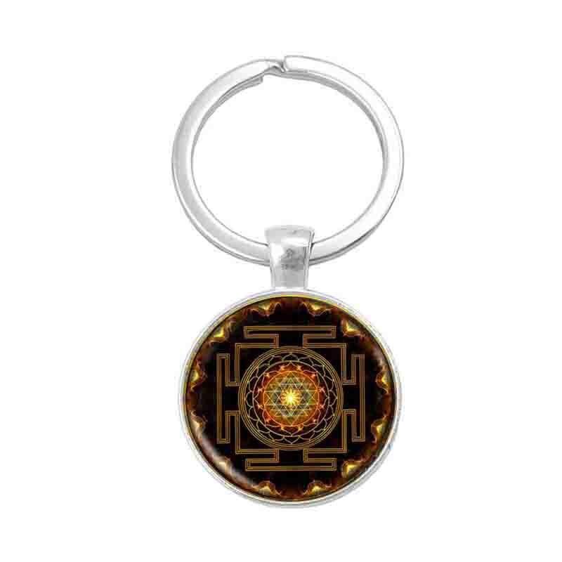 Sri llavero Yantra Geometría Sagrada Mandala sagrado colgante budista llavero plata de moda al por mayor joyería para mujer