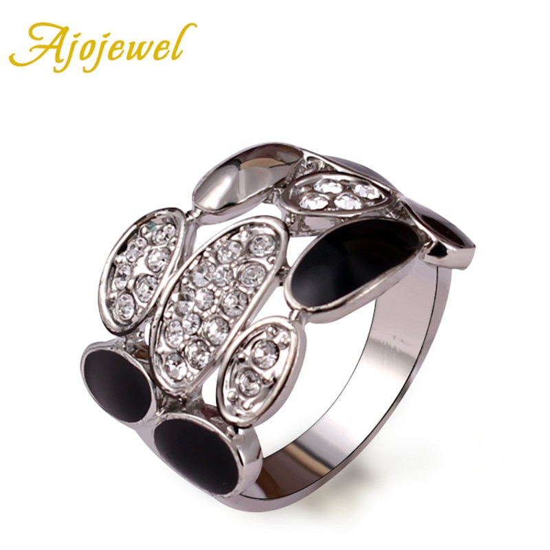 Ajojewel Rhinestone Unisex Vintage Retro Ring Black And White Enamel Jewelry Ringe Bagues