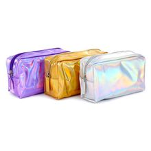 1 pc Laser Cosmetic Bag Fashion Holographic Makeup Bag Make Up Pouch Laser Zipper Purse Bag Organize