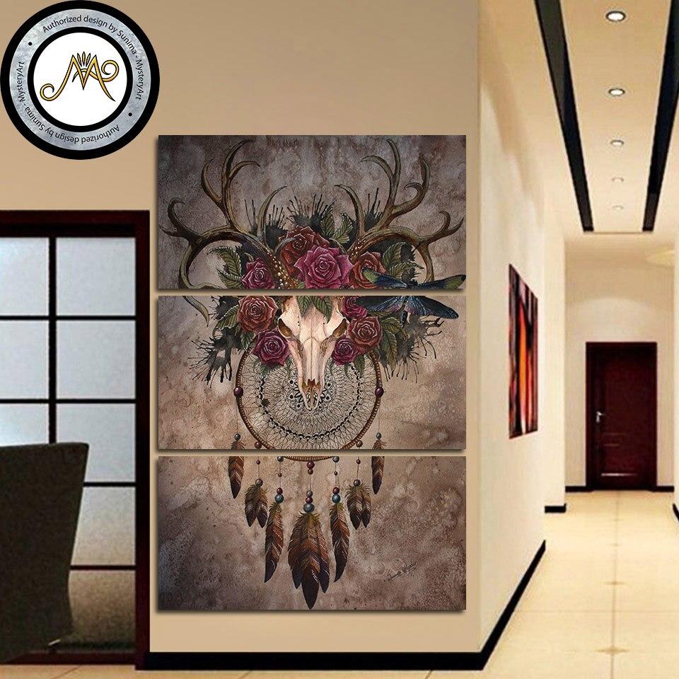 Geheimnis Schädel Dreamcatcher durch Sunima-MysteryArt HD druck 3 stück leinwand kunst Deer Schädel Für Wohnzimmer Dekoration CU-2954C