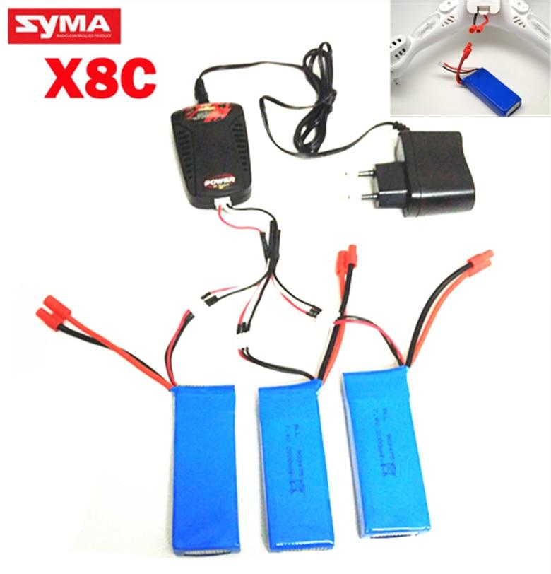 Syma X8 X8A X8C X8C/W X8C-1 X8W 7.4V 2000mAh spare parts LiPo battery + 7.4V Multi-Charger
