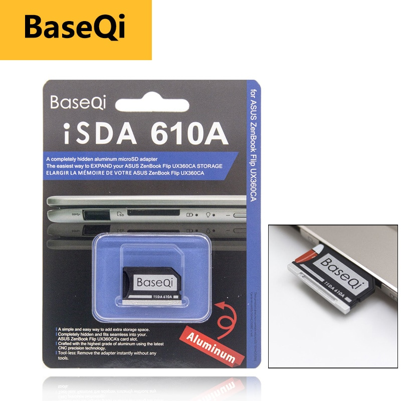 BaseQi pc card pcmcia Micro SD Card Adapter for Asus ZenBook Flip ux360CA compact flash adapter mercedes benz to memory card psp