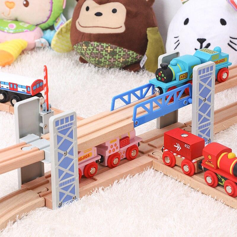Деревянная ограда с двойным подъемным мостом, мост, переход, Деревянные железные дороги, игрушка, набор аксессуаров, модель перехода, детска...