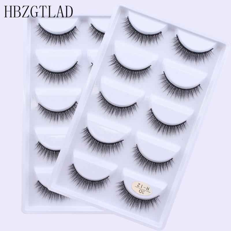 2019 5 Pairs Natural false eyelashes thick 3d mink lashes short black soft mink eyelashes makeup eyelash extension faux lashes