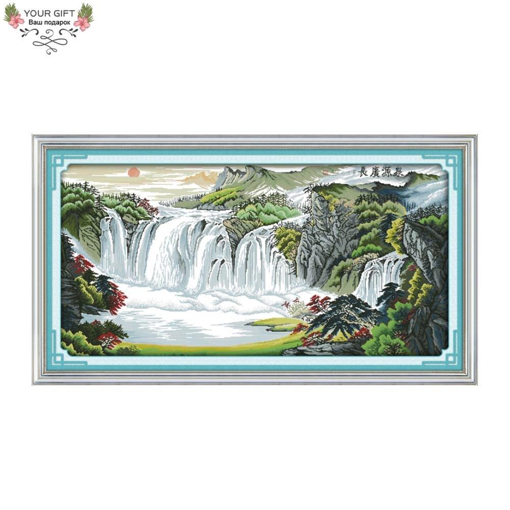 Tu Regalo F390, 14 ct, 11 CT, decoración para el hogar con cuentas y estampado, costura de Río y montañas, kits de bordado de punto de cruz