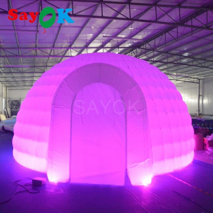 Tienda hinchable gigante de 5x3m (D x H) para fiestas, tienda hinchable de iglú, carpa hinchable tipo domo con luz LED de 17 colores para fiestas o bodas