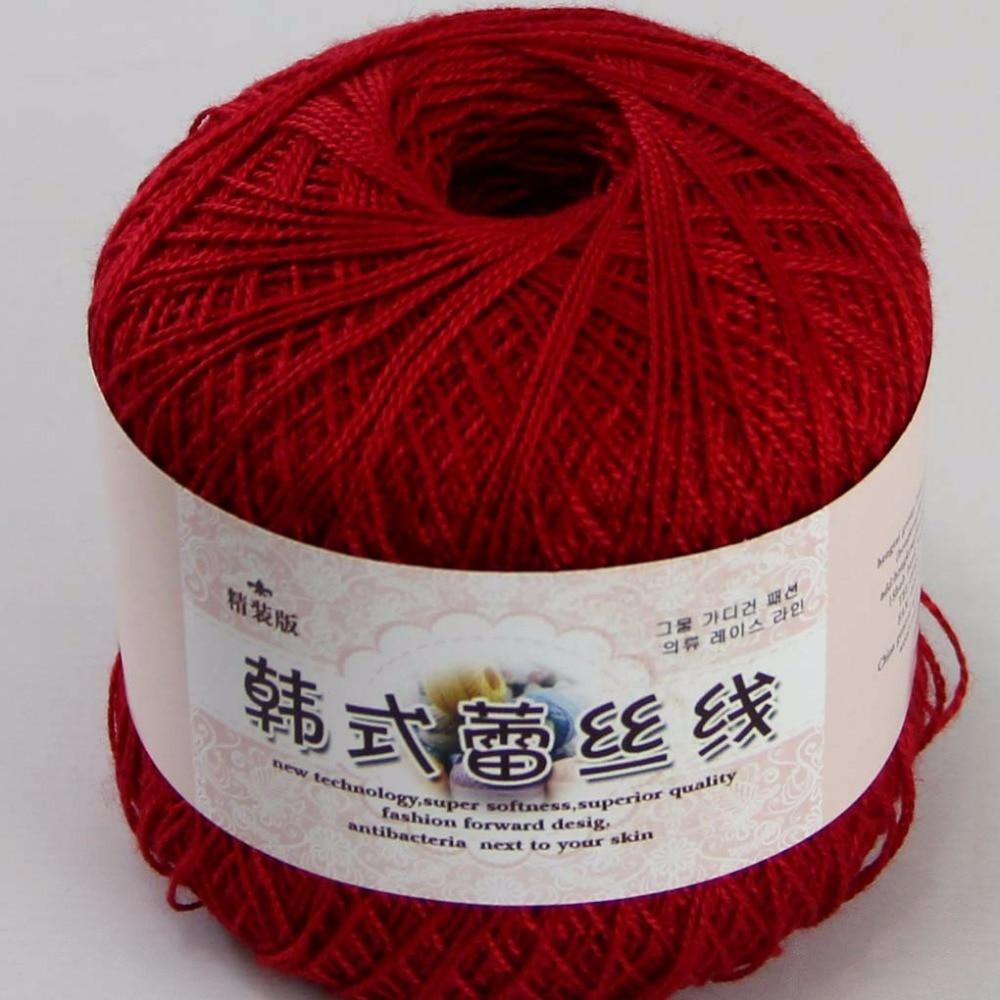 3ballsx50g новый мягкий ручной хлопок кружево шерсть пряжа крючком шаль шарф вязание темно-красный 16113-3