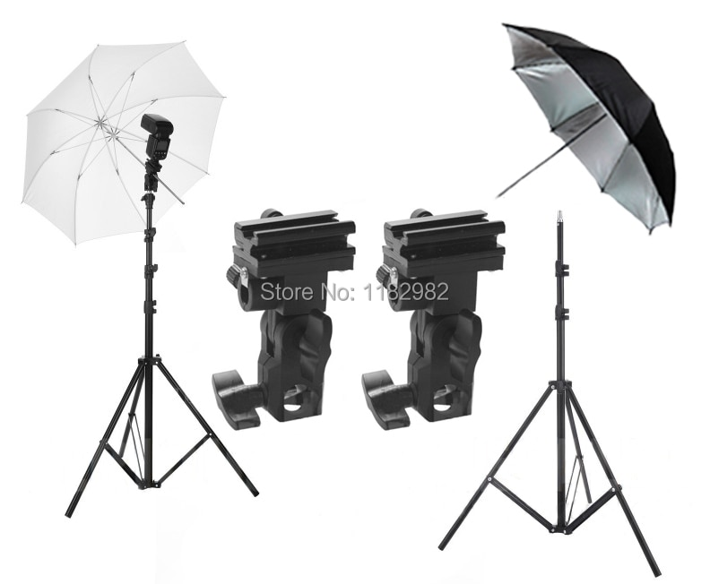 "4ni Flash Mount Bracket / Kit Light Stand Flash Bracket B Mount 33""Umbrella Black Reflective Umbrella+white studio Umbrella"