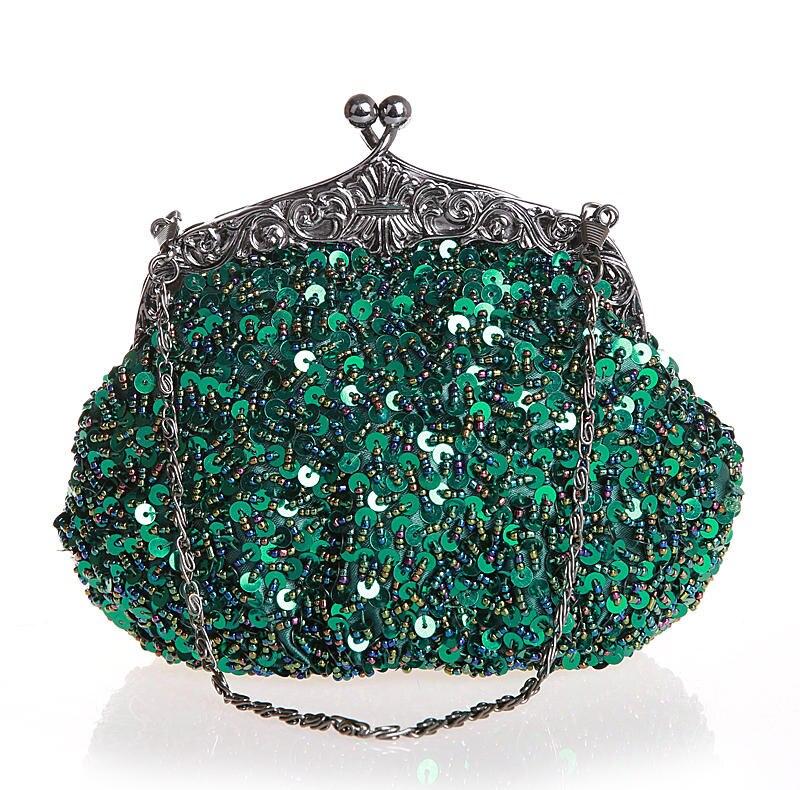 Bolso chino verde con cuentas y lentejuelas para mujer, bolso de noche para boda, bolso de mano para fiesta de novia, bolso de maquillaje, envío gratis 03162-N