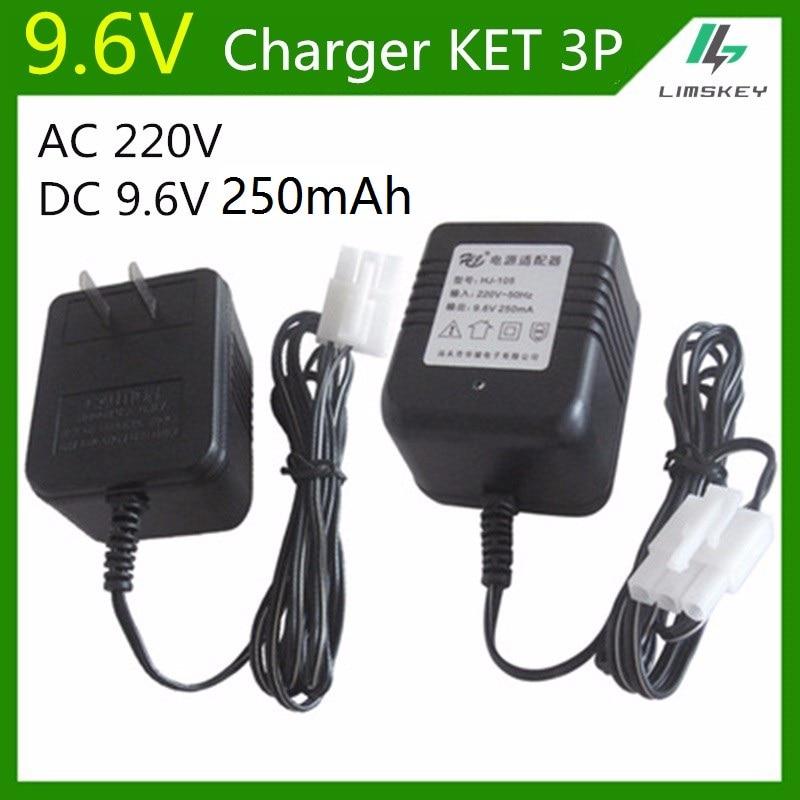Cargador de 3 pines de 9,6 V y 250 mAh para NiCd y NiMH, cargador de batería para coche de juguete RC, AC 220V DC 9,6 v 250 mA KET 3 P Plug