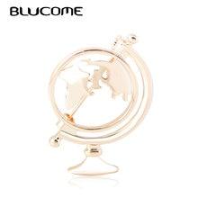 Blucome mode Globe carte du monde forme broches or argent couleur cartes vêtements collier pince femmes hommes terre voyage Souvenir broche