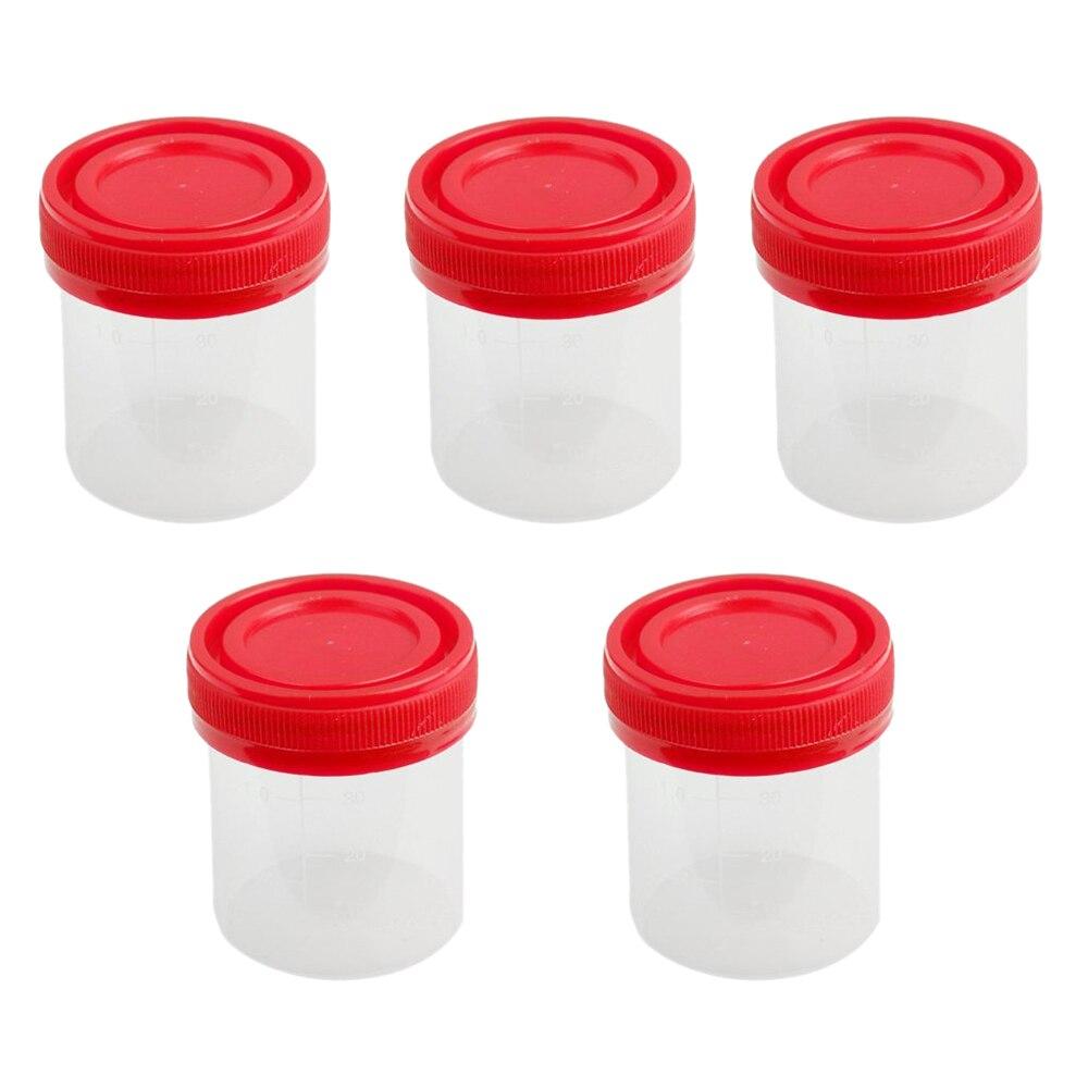 5x40 ml/5x60 ml taza para muestras de plástico graduado con tapa
