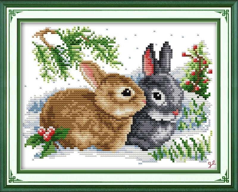 Glück kaninchen kreuz-stich kits tier liebhaber aida 14ct gedruckt 11ct zählen stoff leinwand nähte DIY handarbeit handarbeit plus
