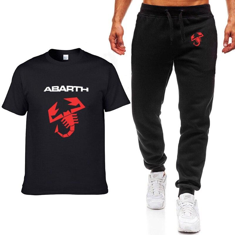 Moda verano hombres camisetas automóvil Abarth diseño de logotipo HipHop Casual algodón de manga corta de alta calidad camiseta pantalones traje hombres ropa