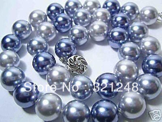 Venta al por mayor precio de moda 35inc collar de cadena larga de 10mm carcasa multicolor cuentas redondas de perlas de imitación de joyería de 18 pulgadas MY2015