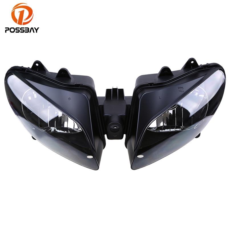 POSSBAY Motorcycle Headlight Lens Assembly Motocicleta Headlamp Housing For Yamaha YZF R1 2000 2001 00 01 Clignotant Moto Enduro