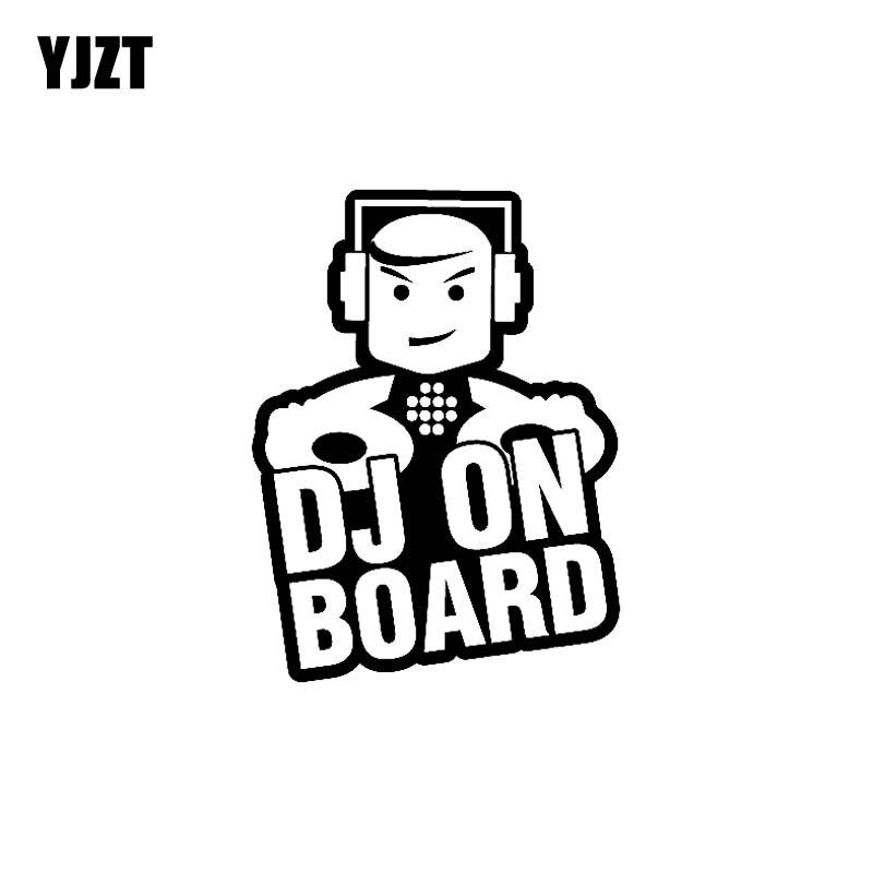YJZT 9,7 cm * 12,6 cm DJ a bordo divertido de seguridad lindo vinilo coche pegatina signo negro plata C10-00633