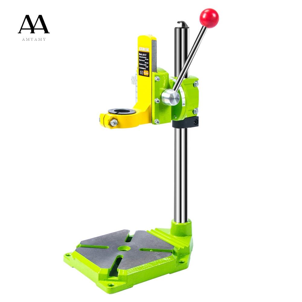 AMYAMY, taladro eléctrico, mesa de soporte de prensa para taladros, abrazadera de banco de trabajo para mandril de perforación, 35 43mm 0 90 grados