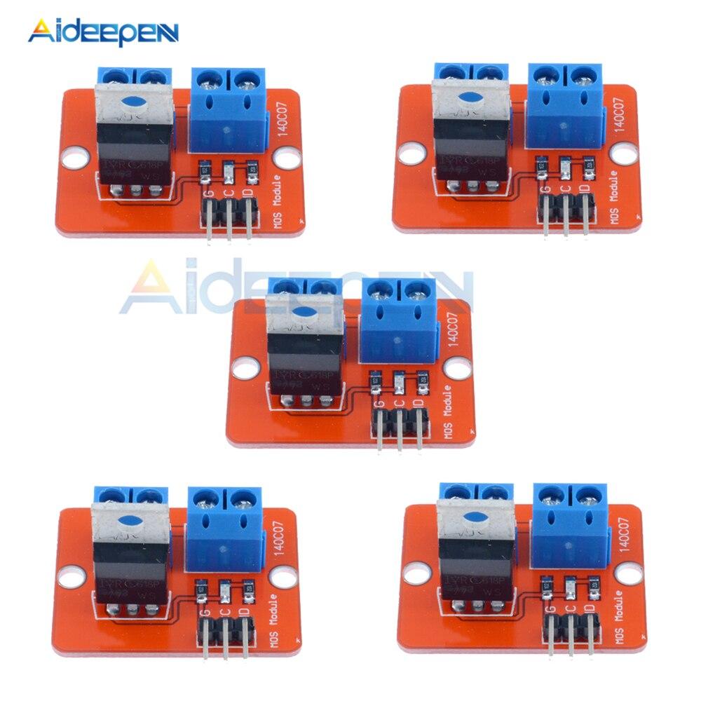 5Pcs 0-24V Top Mosfet Button IRF520 MOS Driver Module MCU ARM Raspberry Pi Smart Electronics for Arduino