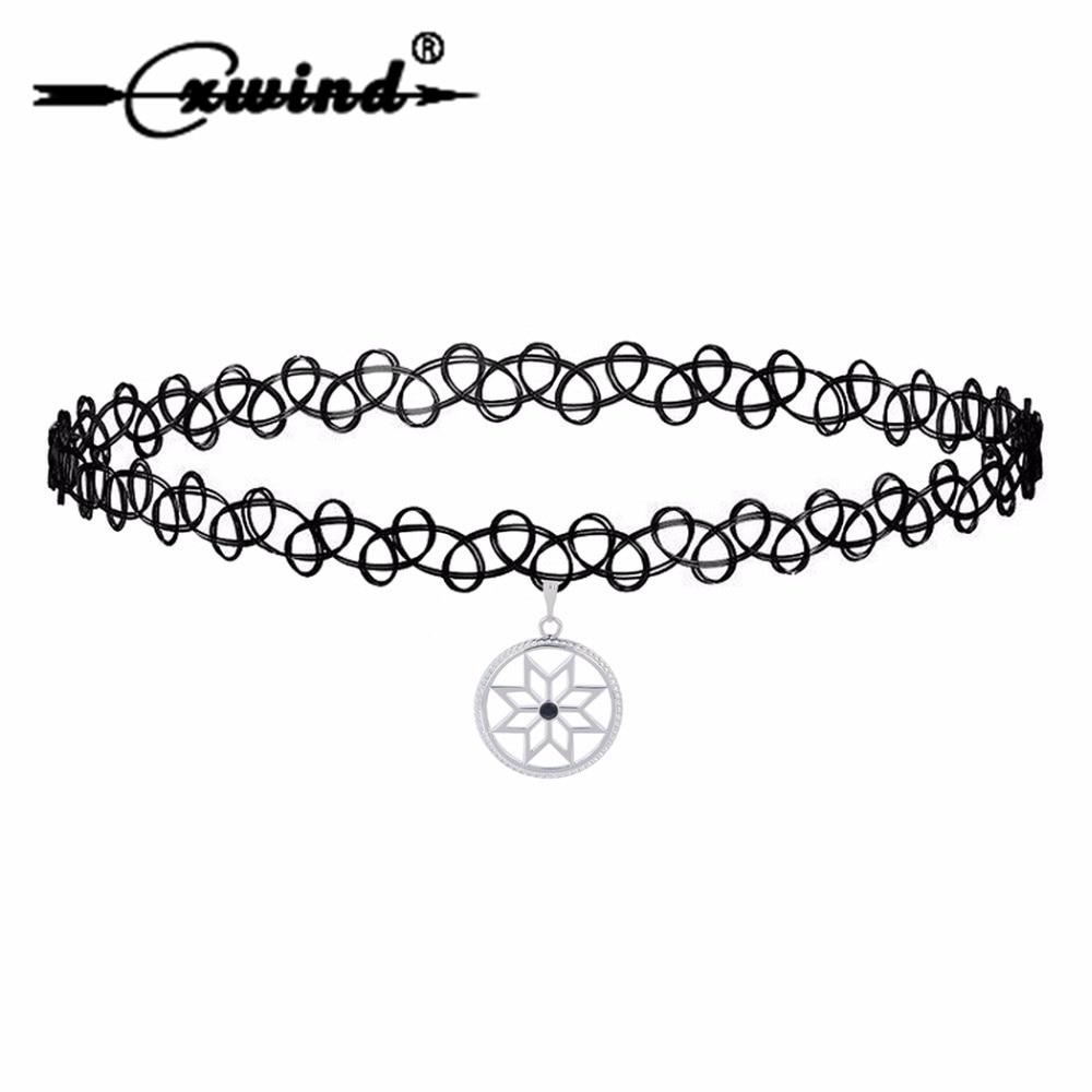 Cxwind Slavic Warding Alatir Star Charm Pendant Choker Amulets Crystal Necklaces for Women Chocker Necklace Collier Gift Jewelry