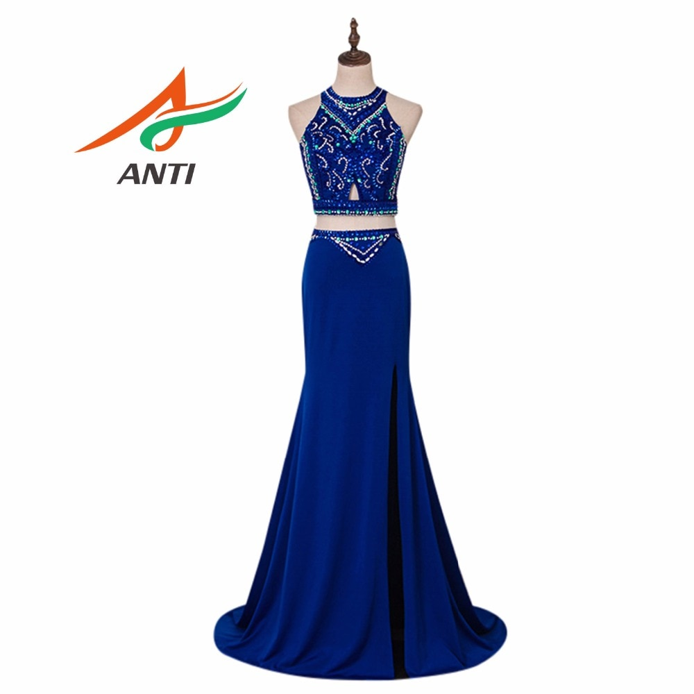 Vestido De noche azul real para fiesta elegante Vestido De fiesta largo De graduación 2018 con brillo De cristal