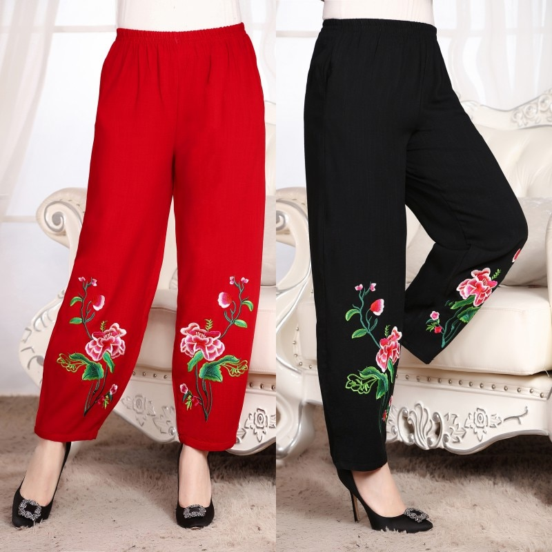 Фото - New National trend style Chinese vintage pattern trousers Chinese Traditional Clothing Women embriodered loose Trousers Pants new style plus size women s trousers loose zebra pattern casual trousers