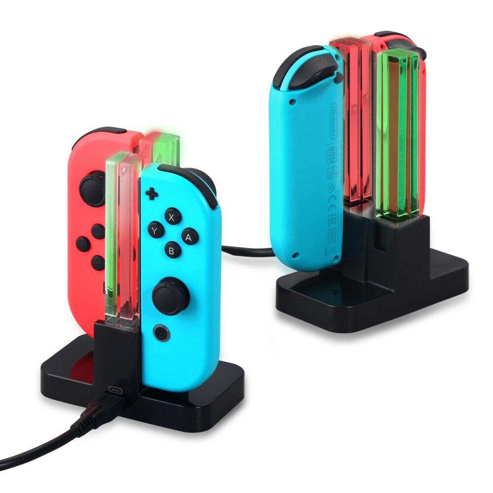 1 PC 4 in 1 USB Laadstation Dock Stand met LED Indicator Type C Kabel voor Nintendo Switch Vreugde -nadelen Game Console