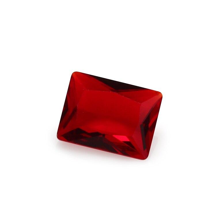 100 Uds 2x3 ~ 10x12mm rectángulo forma piedra oscuro cristal color rojo sintético gemas para joyería DIY de piedra de corte de la princesa