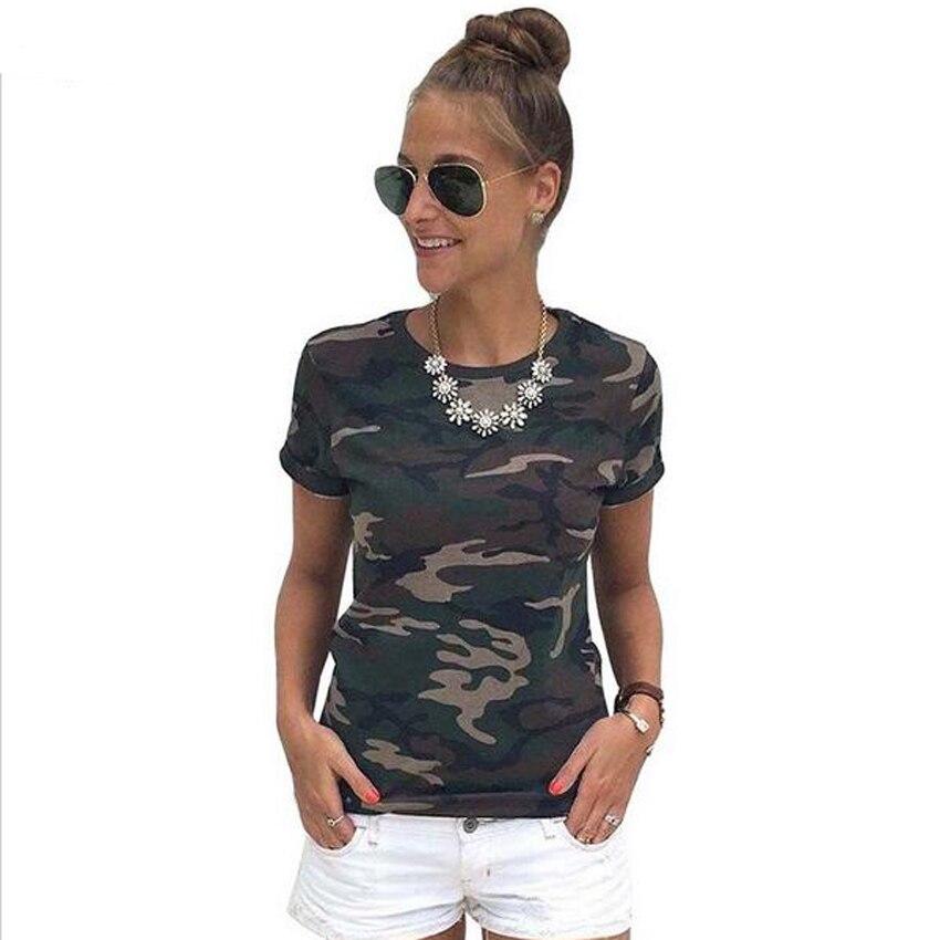 Camiseta para mujer, camiseta sexi clásica de estilo militar, pantalón de camuflaje con mangas, camiseta informal con cuello redondo, camisa de camuflaje, ropa de calle a la moda