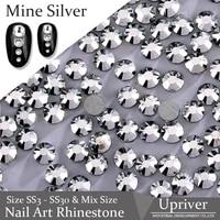 upriver non hot fix rhinestones flatback mine silver nail art rhinestones for diy design nail good quality ss3 ss30 1440pcs