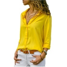 8XL Oversize Women Tops Blouses Autumn Elegant Long Sleeve Solid V-Neck Chiffon Blouse Work Shirts Office Plus Size 7XL Blusas
