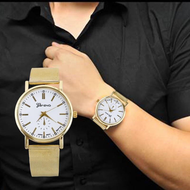 2019 masculino relógio masculino relógio de quartzo relógio de pulso moda analógico aço inoxidável malha pulseira de ouro relógios reloj relogio