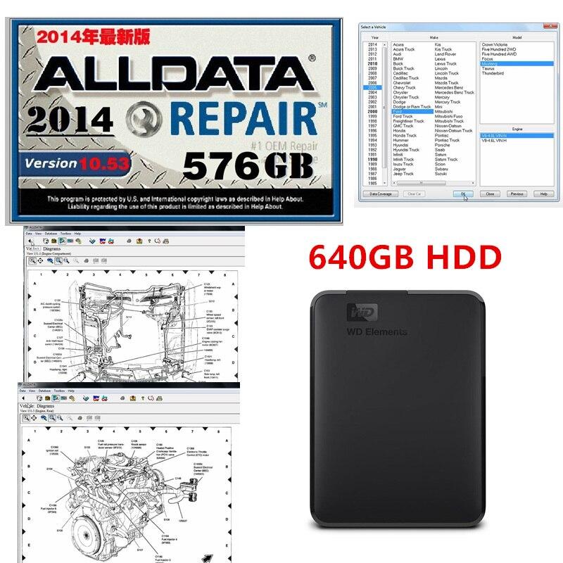 2020 горячее Авто Ремонт Alldata программное обеспечение V10.53 alldata Автоматическая диагностика всех данных в 640 Гб HDD Бесплатная установка Поддержка windows 7/8