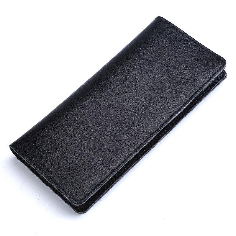 Cartera larga de piel auténtica de Cuero de vaca Real para mujer y hombre, monedero a la moda, tarjetero, billeteras de alta calidad para teléfono, bolso de mano tipo monedero