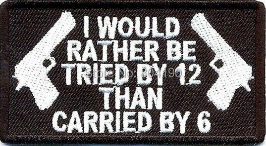 Intenté por 12 A 6 CONTROL divertido NRA coser hierro en Biker chaleco parche chaqueta punk rock heavy metal pegatinas