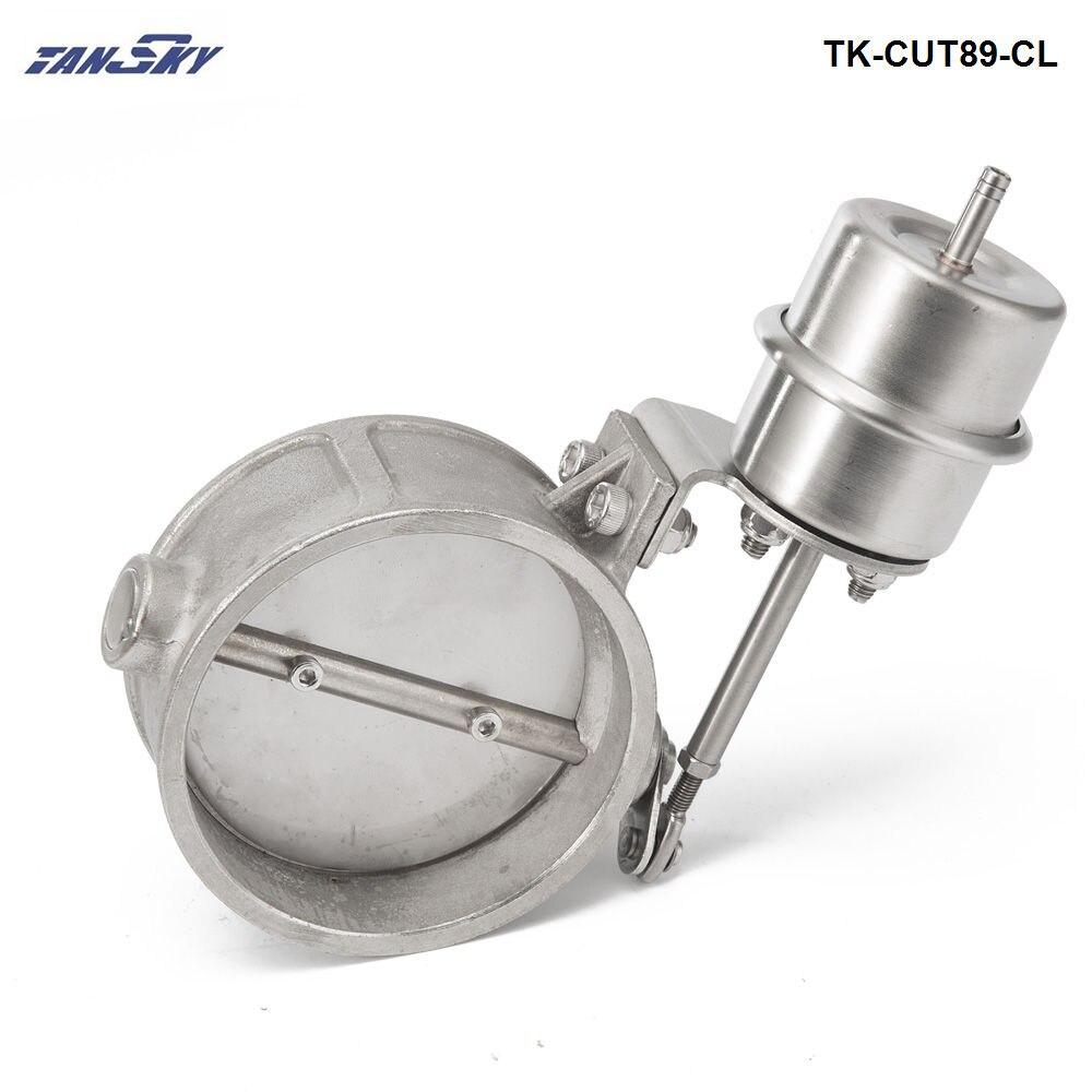 Nuevo recorte/descarga de escape activado al vacío 89MM estilo cerrado presión aproximadamente 1 BAR para Ford Mustang GT TK-CUT89-CL