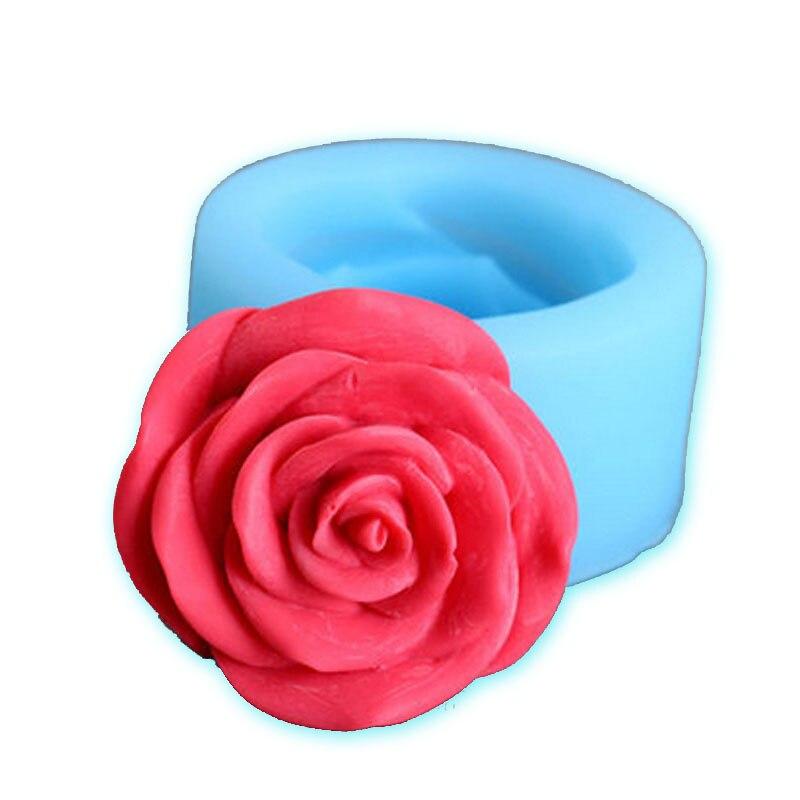 Molde de silicona en 3D con forma de Rosa y Flor de Yiwumart para Fondant, cortador de arcilla polimérica, herramientas de decoración de tartas