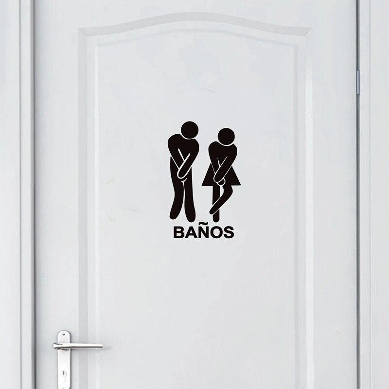 Versión en español, divertidas pegatinas de baño, señal de Banos, pegatina de vinilo para decoración de puerta de baño en español