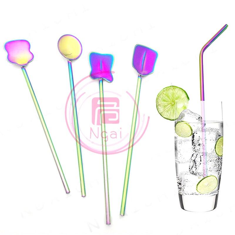 Набор соломы, зеркальная полированная присоска, напитки, изогнутые соломенные напитки, прямая соломинка 26,5 см/10,5 дюйма, цвета радуги, нержав...