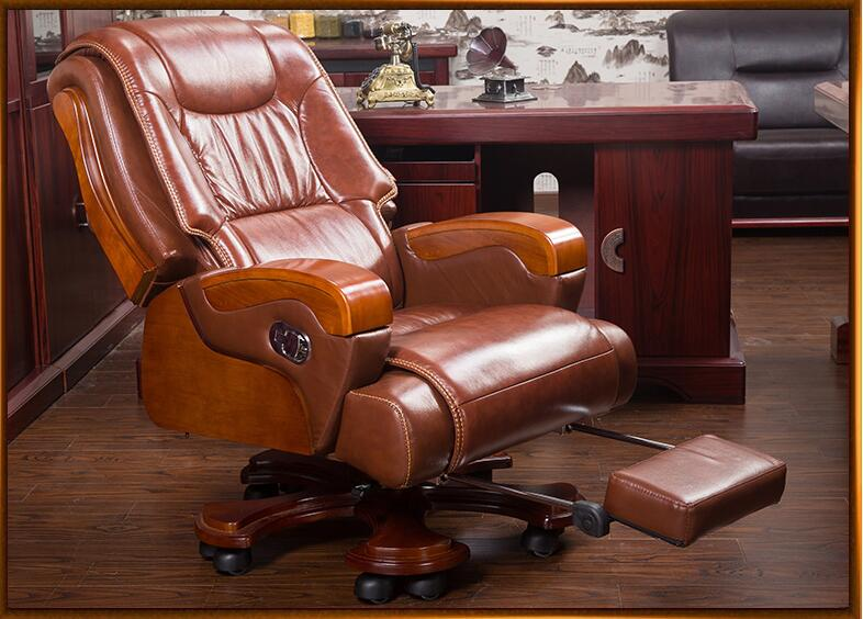 Solid wood big shift chair genuine leather boss chair can lie massage office chair lift swivel chair home computer chair. real leather boss chair can lie high grade massage computer chair home office chair real wood swivel chair 08
