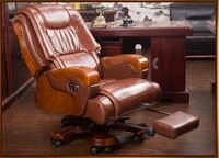 solid wood big shift chair genuine leather boss chair can lie massage office chair lift swivel chair home computer chair