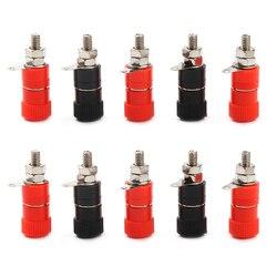 10 pçs 4mm conector do orador banana soquete niquelado vermelho e preto ligação post porca banana plug jack conector