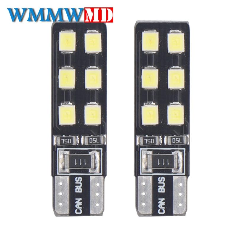 2x6000K luz blanca de coche T10 W5W 194 168 bombilla Led de cuña 12SMD luces de lectura de cúpula automática luces de estacionamiento bombillas de luz lateral