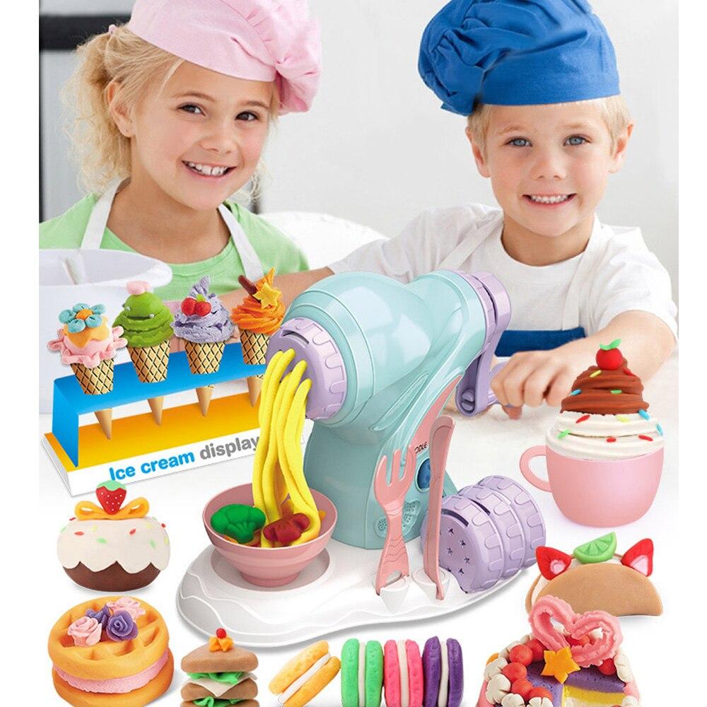 Diy playdough argila massa máquina de sorvete molde jogo kit plasticina diy brinquedo artesanal fabricante de macarrão cozinha brinquedo conjunto de ano novo presente