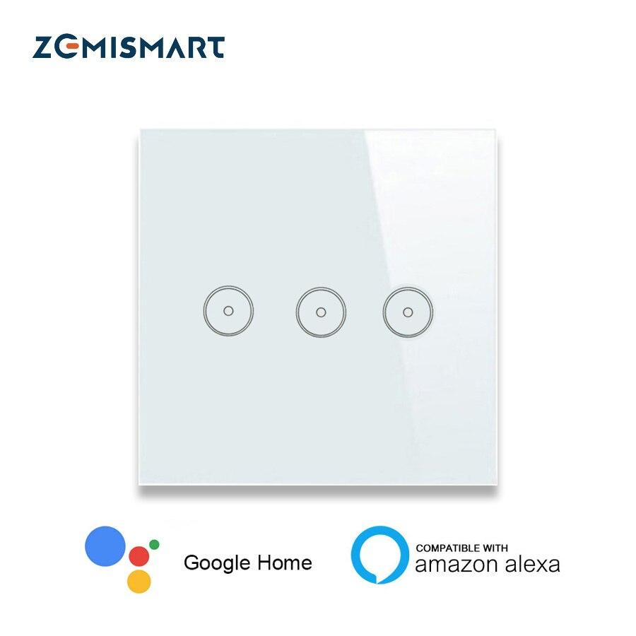 Zemismart-مفتاح إضاءة يعمل بالواي فاي مع Alexa ، Google Home ، Siri ، التحكم الصوتي ، تطبيق الحياة الذكية ، يسمح لهاتف android IOS