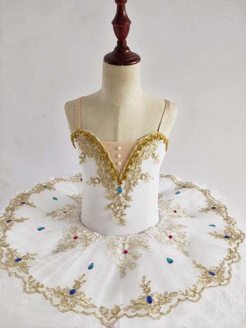 Vestido de Ballet para mujer, tutú de cisne de lago para chicas, vestido de Ballet dorado con encaje de bailarina, traje de actuación profesional de Ballet de diamantes