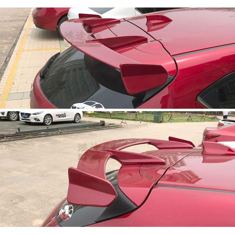 Para Mazda 3 Axela hatchback 2013-2018 alerón de ala trasera, alerones de maletero, fibra de resina gris, fijación del primer tornillo