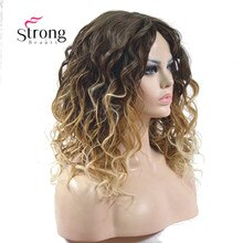 Comprimento médio kinky loira ombre alta resistente ao calor peruca sintética completa
